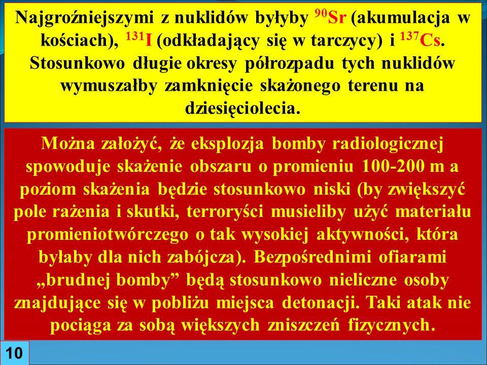 10 Najgroźniejszymi z nuklidów byłyby 90 Sr (akumulacja w kościach), 131 I (odkładający się w tarczycy) i 137 Cs.