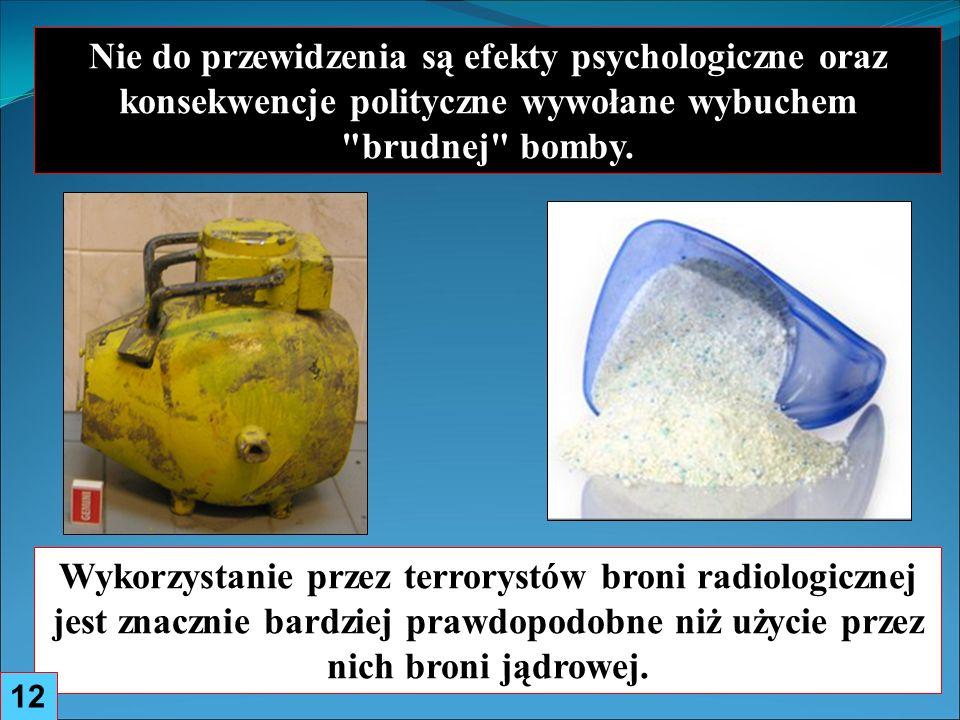 Nie do przewidzenia są efekty psychologiczne oraz konsekwencje polityczne wywołane wybuchem brudnej bomby.