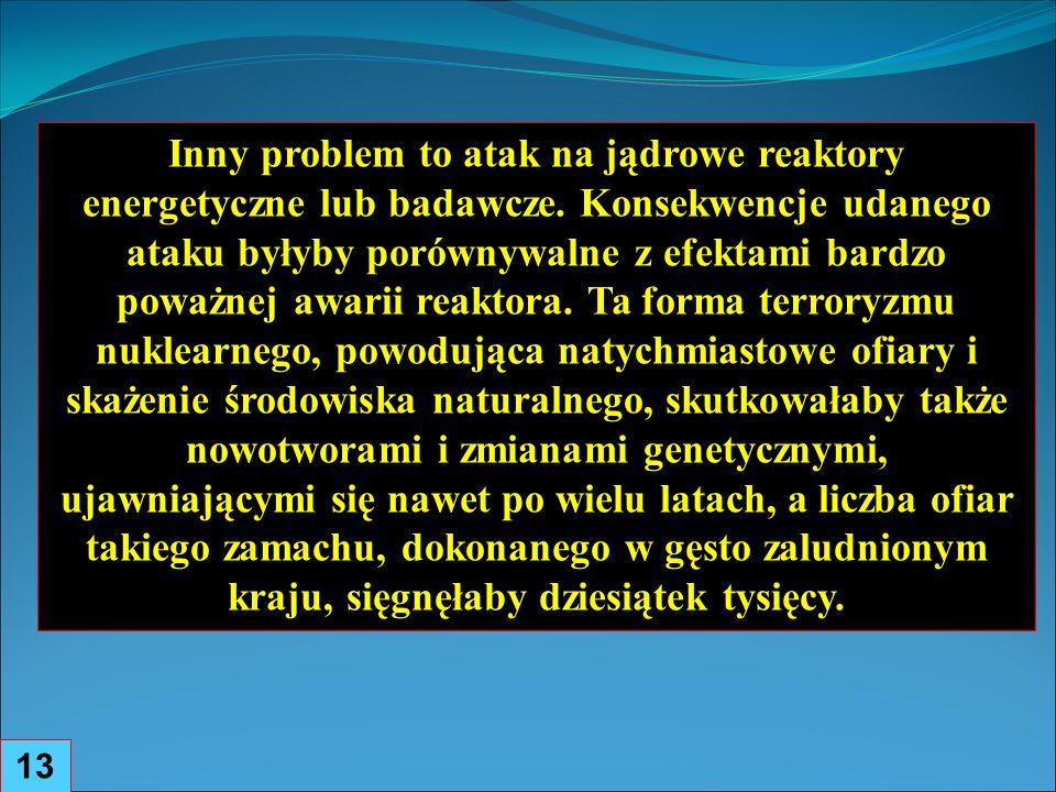 13 Inny problem to atak na jądrowe reaktory energetyczne lub badawcze.