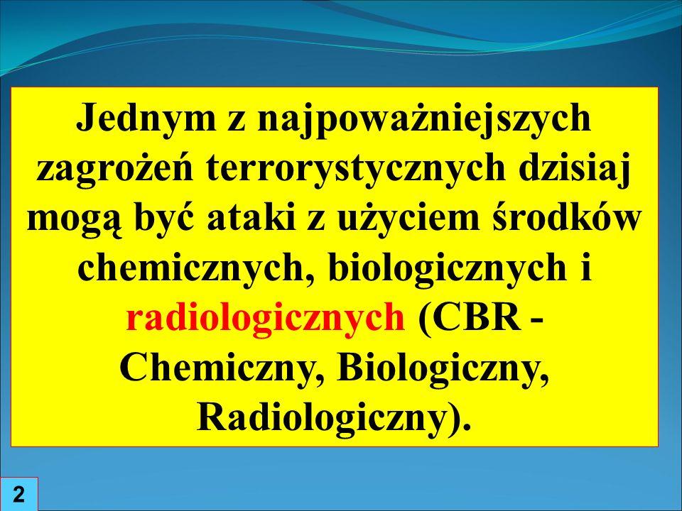 Trzy możliwości ataku terrorystycznego z wykorzystaniem źródeł promieniowania jonizującego jako czynnika rażenia : 3 detonacja ładunku nuklearnego użycie broni radiologicznej spowodowanie wybuchu w instalacji jądrowej