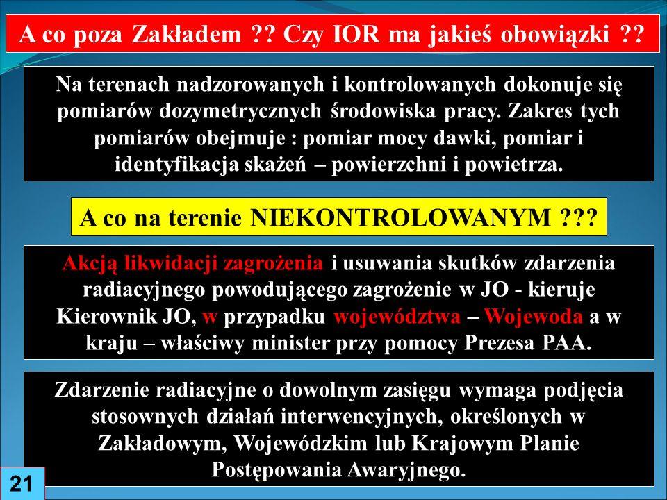 Zdarzenie radiacyjne o dowolnym zasięgu wymaga podjęcia stosownych działań interwencyjnych, określonych w Zakładowym, Wojewódzkim lub Krajowym Planie Postępowania Awaryjnego.