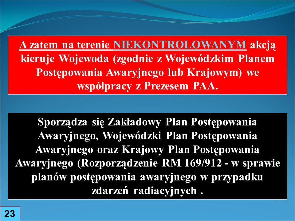 A zatem na terenie NIEKONTROLOWANYM akcją kieruje Wojewoda (zgodnie z Wojewódzkim Planem Postępowania Awaryjnego lub Krajowym) we współpracy z Prezesem PAA.