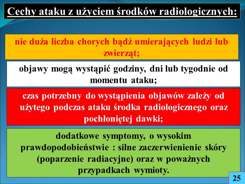 nie duża liczba chorych bądź umierających ludzi lub zwierząt; Cechy ataku z użyciem środków radiologicznych: czas potrzebny do wystąpienia objawów zależy od użytego podczas ataku środka radiologicznego oraz pochłoniętej dawki; objawy mogą wystąpić godziny, dni lub tygodnie od momentu ataku; dodatkowe symptomy, o wysokim prawdopodobieństwie : silne zaczerwienienie skóry (poparzenie radiacyjne) oraz w poważnych przypadkach wymioty.