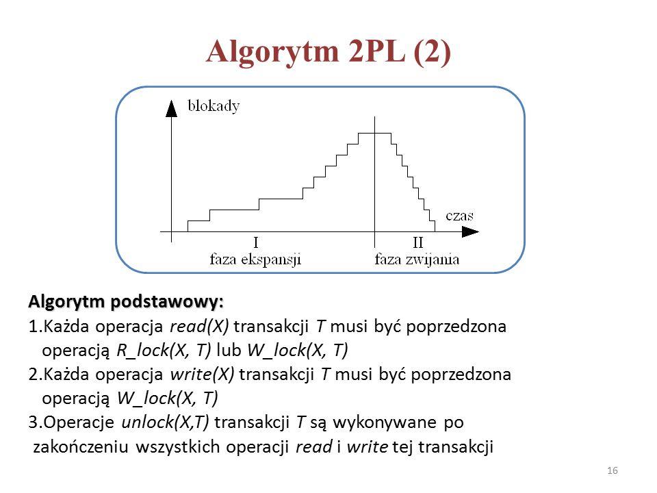Algorytm 2PL (2) Algorytm podstawowy: 1.Każda operacja read(X) transakcji T musi być poprzedzona operacją R_lock(X, T) lub W_lock(X, T) 2.Każda operacja write(X) transakcji T musi być poprzedzona operacją W_lock(X, T) 3.Operacje unlock(X,T) transakcji T są wykonywane po zakończeniu wszystkich operacji read i write tej transakcji 16