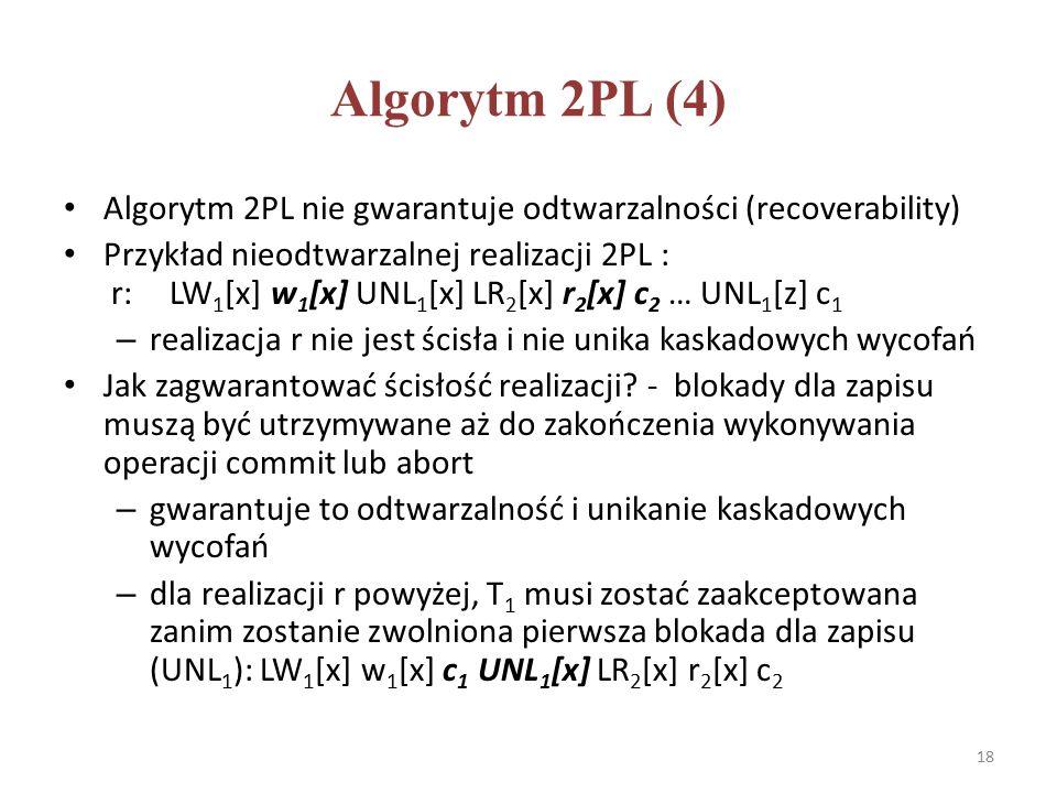 Algorytm 2PL (4) Algorytm 2PL nie gwarantuje odtwarzalności (recoverability) Przykład nieodtwarzalnej realizacji 2PL : r:LW 1 [x] w 1 [x] UNL 1 [x] LR 2 [x] r 2 [x] c 2 … UNL 1 [z] c 1 – realizacja r nie jest ścisła i nie unika kaskadowych wycofań Jak zagwarantować ścisłość realizacji.