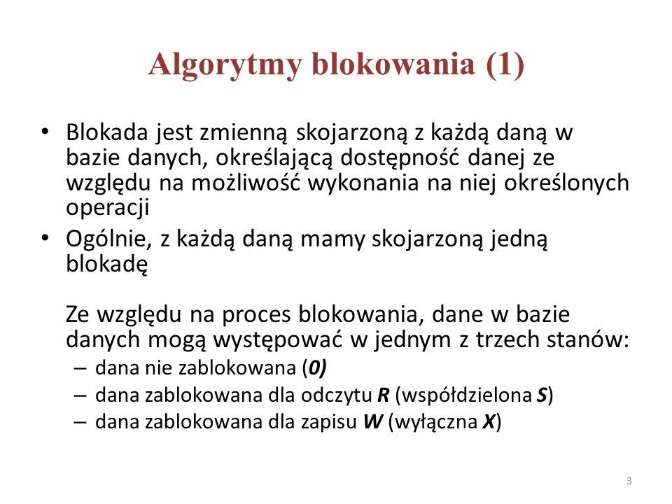 Algorytmy blokowania (1) Blokada jest zmienną skojarzoną z każdą daną w bazie danych, określającą dostępność danej ze względu na możliwość wykonania na niej określonych operacji Ogólnie, z każdą daną mamy skojarzoną jedną blokadę Ze względu na proces blokowania, dane w bazie danych mogą występować w jednym z trzech stanów: – dana nie zablokowana (0) – dana zablokowana dla odczytu R (współdzielona S) – dana zablokowana dla zapisu W (wyłączna X) 3