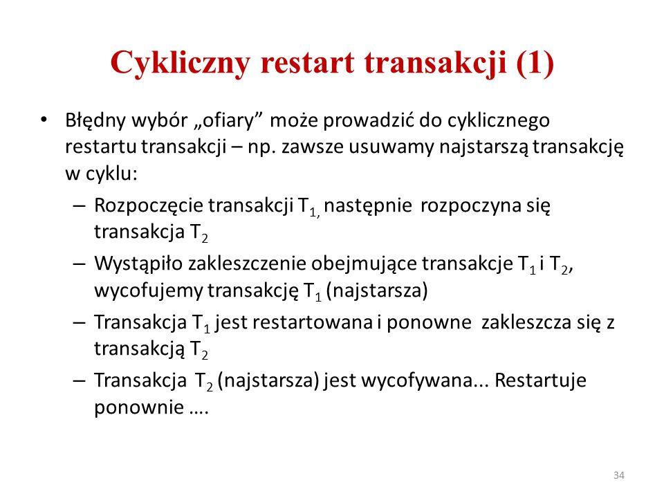 """Cykliczny restart transakcji (1) Błędny wybór """"ofiary może prowadzić do cyklicznego restartu transakcji – np."""