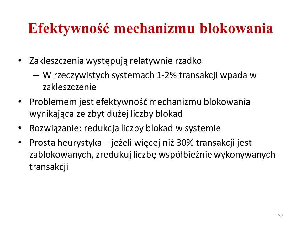 Efektywność mechanizmu blokowania Zakleszczenia występują relatywnie rzadko – W rzeczywistych systemach 1-2% transakcji wpada w zakleszczenie Problemem jest efektywność mechanizmu blokowania wynikająca ze zbyt dużej liczby blokad Rozwiązanie: redukcja liczby blokad w systemie Prosta heurystyka – jeżeli więcej niż 30% transakcji jest zablokowanych, zredukuj liczbę współbieżnie wykonywanych transakcji 37