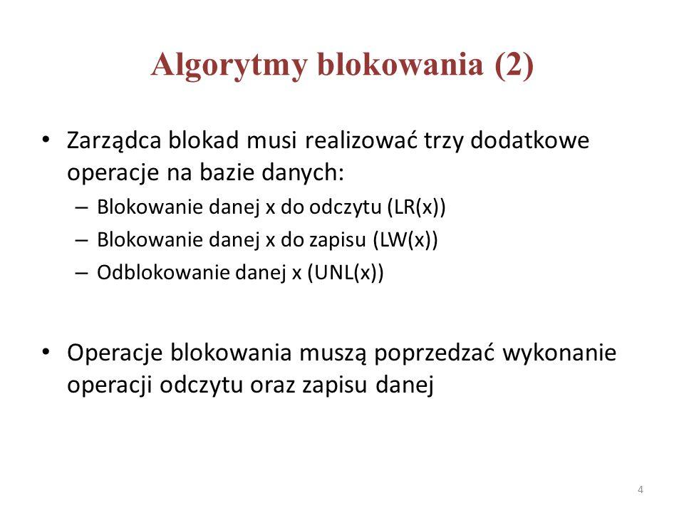 Kompatybilność blokad Dwie blokady są kompatybilne jeżeli mogą być założone na tej samej danej przez dwie różne transakcje RW R  W  Blokada uzyskana Blokada żądana 5