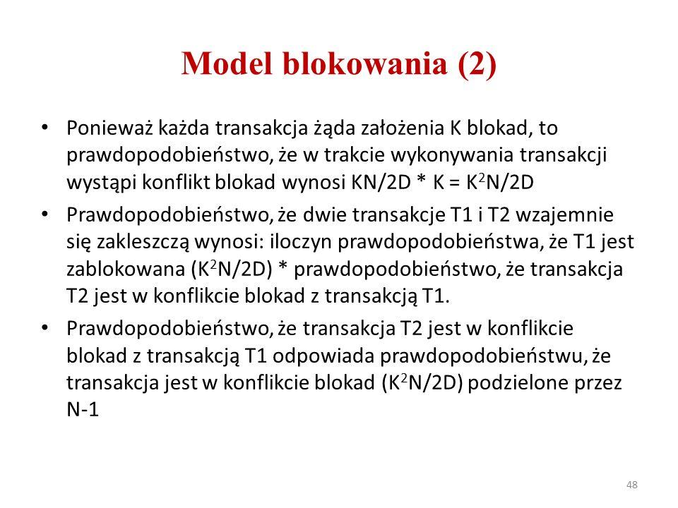 Model blokowania (2) Ponieważ każda transakcja żąda założenia K blokad, to prawdopodobieństwo, że w trakcie wykonywania transakcji wystąpi konflikt blokad wynosi KN/2D * K = K 2 N/2D Prawdopodobieństwo, że dwie transakcje T1 i T2 wzajemnie się zakleszczą wynosi: iloczyn prawdopodobieństwa, że T1 jest zablokowana (K 2 N/2D) * prawdopodobieństwo, że transakcja T2 jest w konflikcie blokad z transakcją T1.