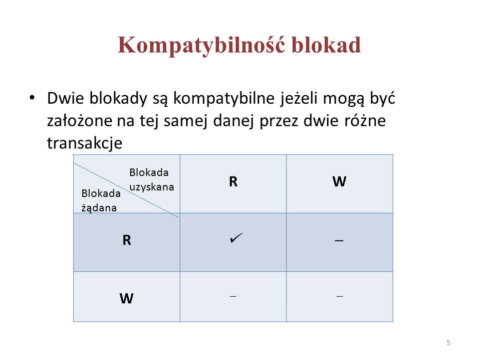 Konwersja blokad Transakcja posiadająca blokadę określonego typu na danej może dokonać jej konwersji w blokadę innego typu RW R  W Blokada uzyskana Blokada żądana 6