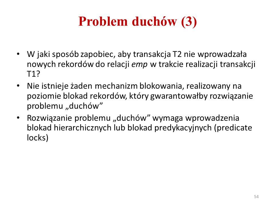 Problem duchów (3) W jaki sposób zapobiec, aby transakcja T2 nie wprowadzała nowych rekordów do relacji emp w trakcie realizacji transakcji T1.