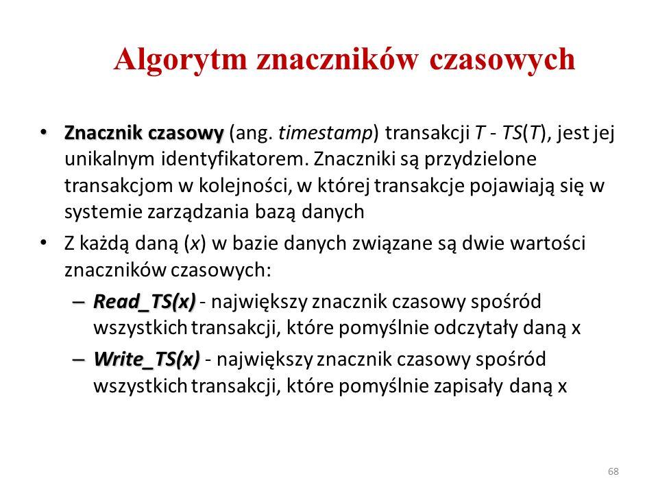 68 Algorytm znaczników czasowych Znacznik czasowy Znacznik czasowy (ang.