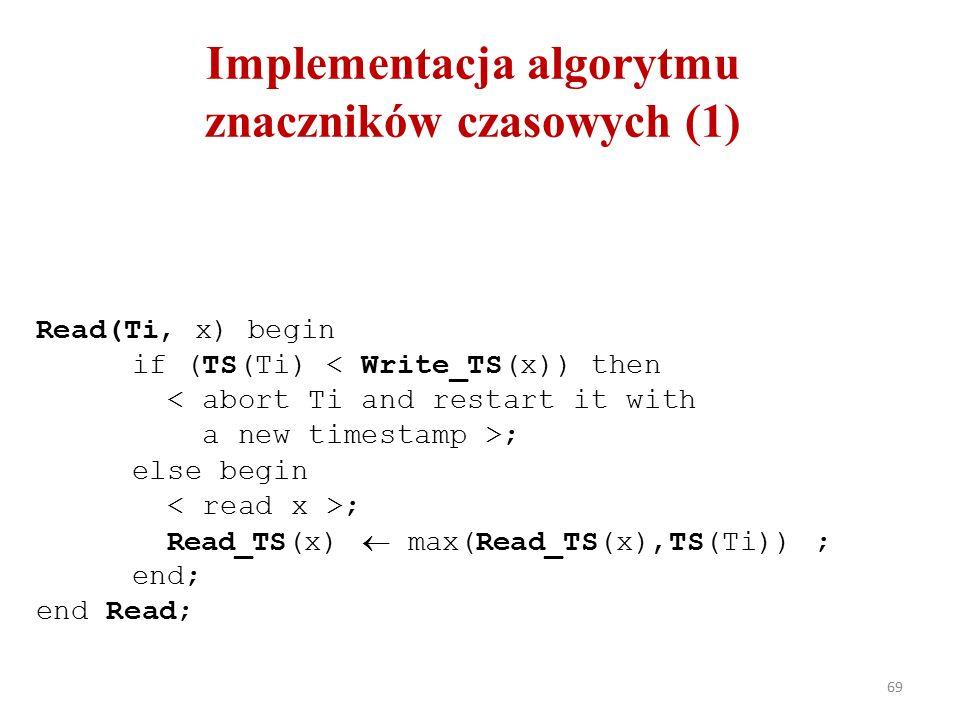 69 Read(Ti, x) begin if (TS(Ti) < Write_TS(x)) then ; else begin ; Read_TS(x)  max(Read_TS(x),TS(Ti)) ; end; end Read; Implementacja algorytmu znaczników czasowych (1)