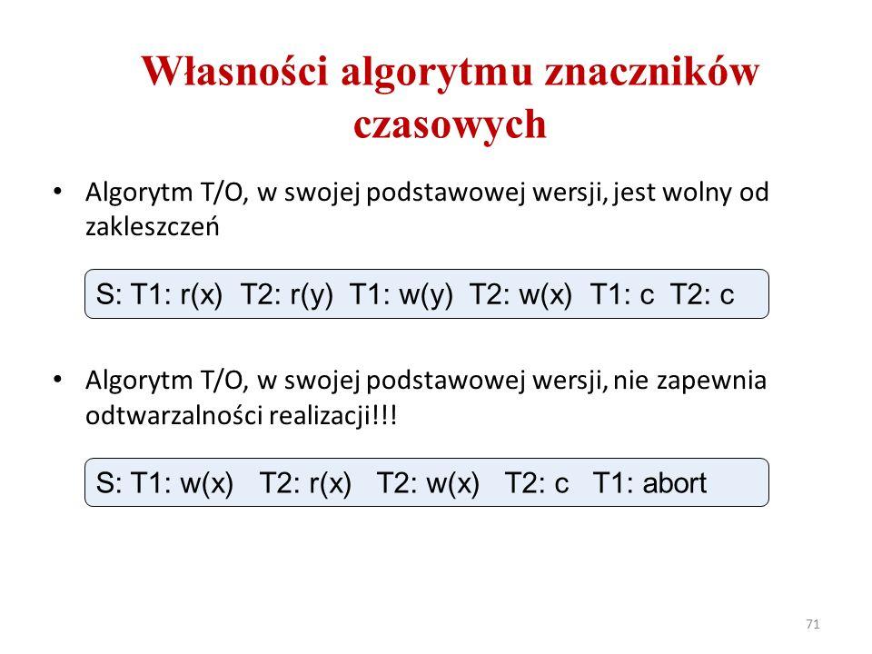 71 Własności algorytmu znaczników czasowych Algorytm T/O, w swojej podstawowej wersji, jest wolny od zakleszczeń Algorytm T/O, w swojej podstawowej wersji, nie zapewnia odtwarzalności realizacji!!.