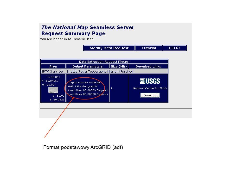Format podstawowy ArcGRID (adf)