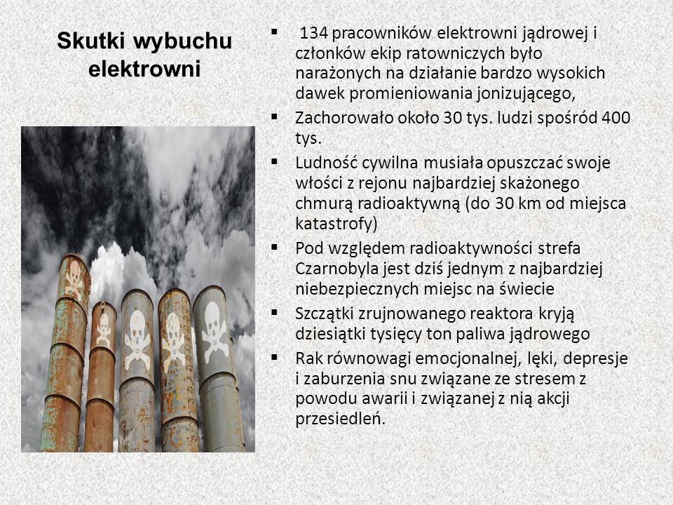 Skutki wybuchu elektrowni  134 pracowników elektrowni jądrowej i członków ekip ratowniczych było narażonych na działanie bardzo wysokich dawek promie