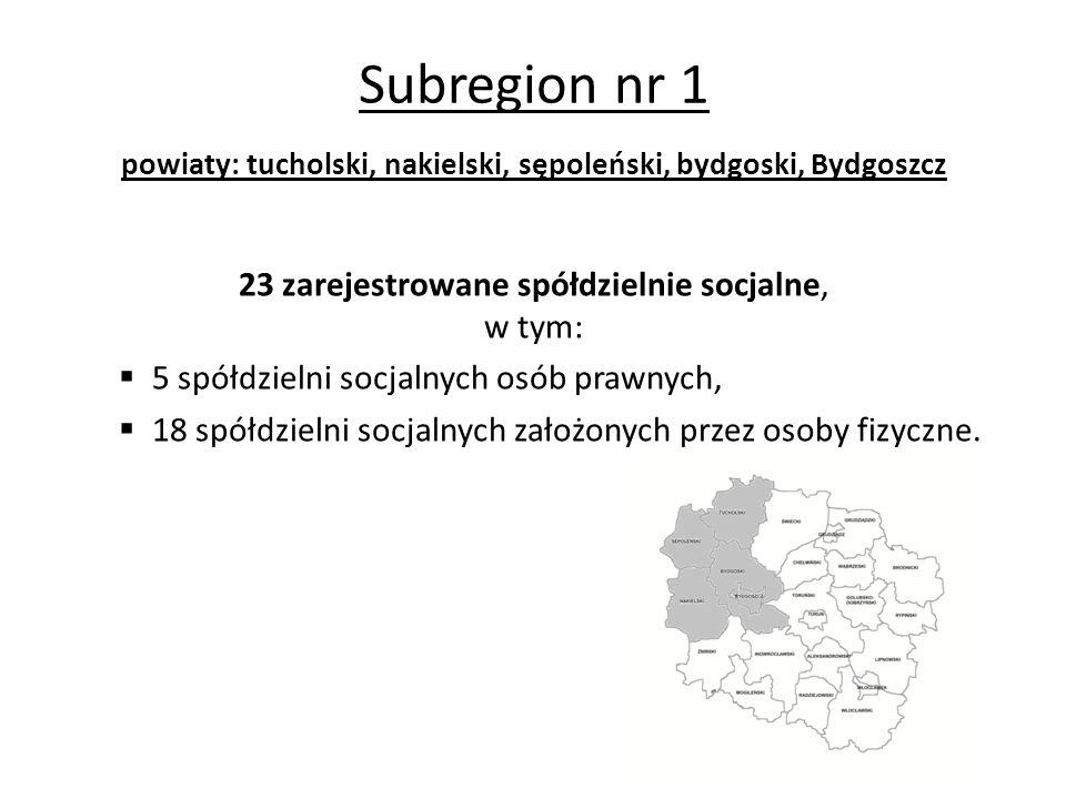 Subregion nr 1 powiaty: tucholski, nakielski, sępoleński, bydgoski, Bydgoszcz 23 zarejestrowane spółdzielnie socjalne, w tym:  5 spółdzielni socjalnych osób prawnych,  18 spółdzielni socjalnych założonych przez osoby fizyczne.