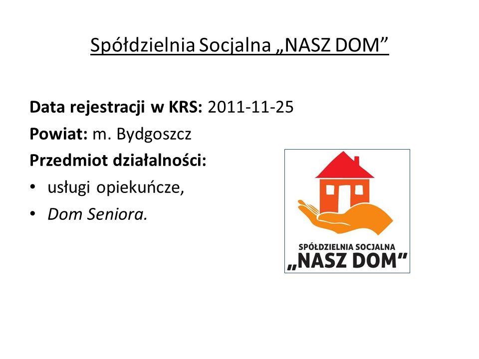 """Spółdzielnia Socjalna """"NASZ DOM Data rejestracji w KRS: 2011-11-25 Powiat: m."""