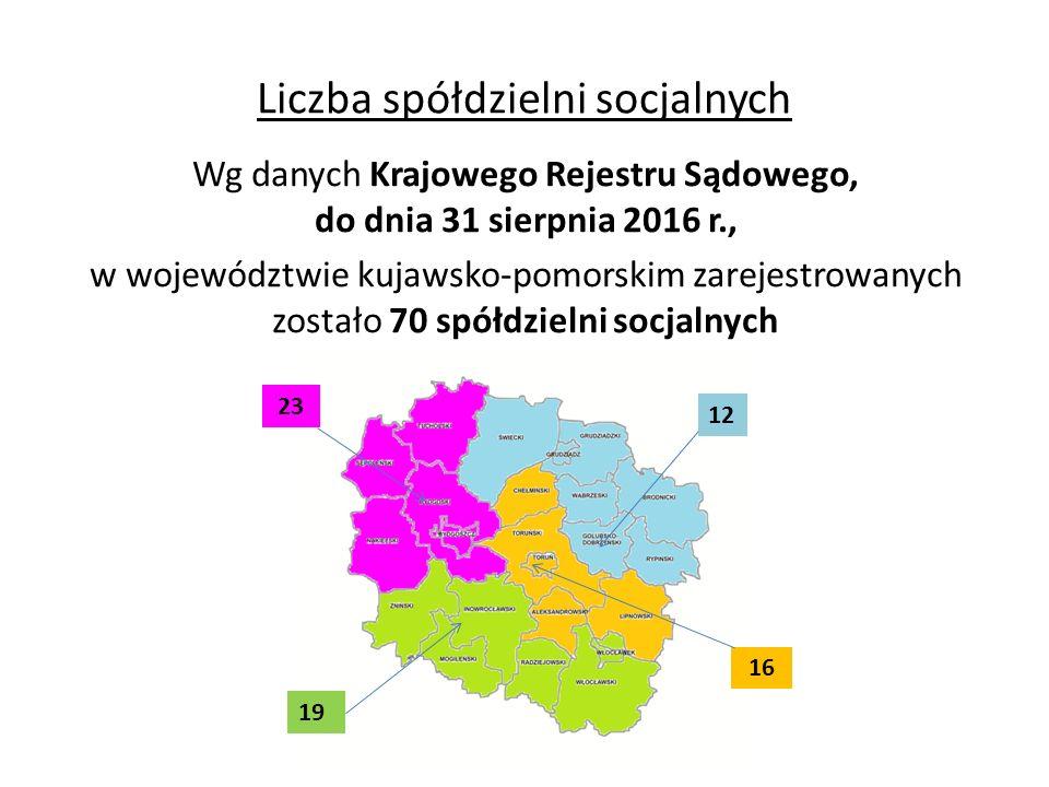 Liczba spółdzielni socjalnych Wg danych Krajowego Rejestru Sądowego, do dnia 31 sierpnia 2016 r., w województwie kujawsko-pomorskim zarejestrowanych zostało 70 spółdzielni socjalnych 23 12 16 19