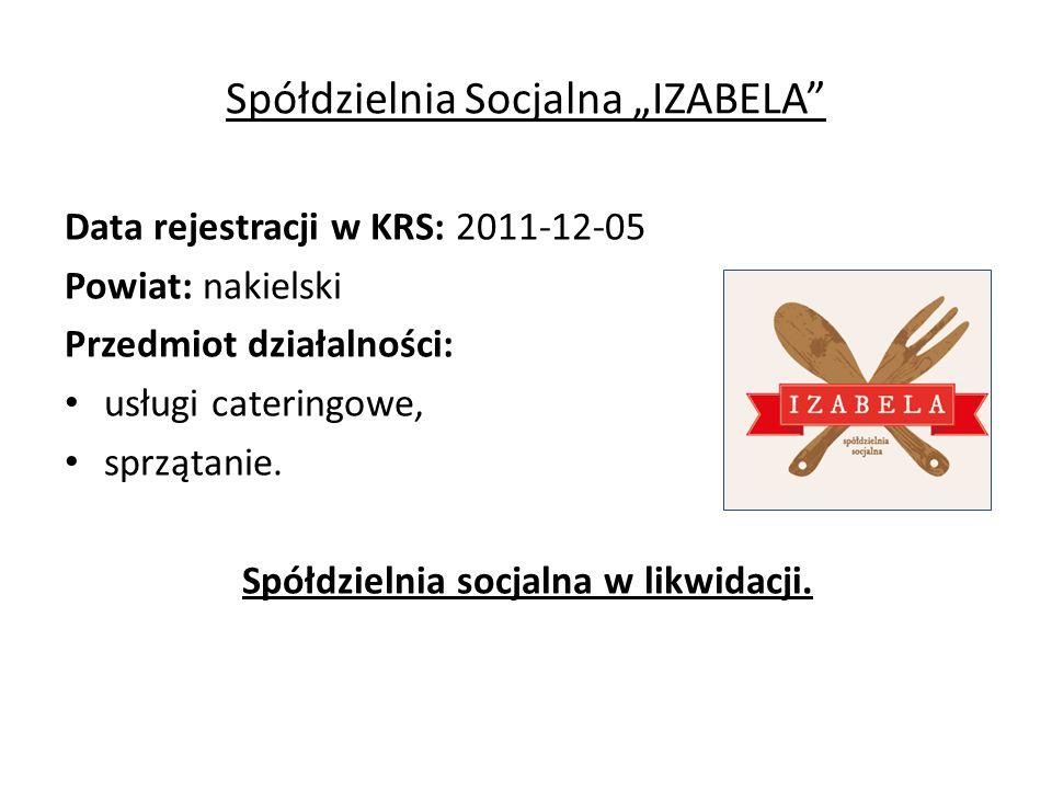 """Spółdzielnia Socjalna """"IZABELA Data rejestracji w KRS: 2011-12-05 Powiat: nakielski Przedmiot działalności: usługi cateringowe, sprzątanie."""