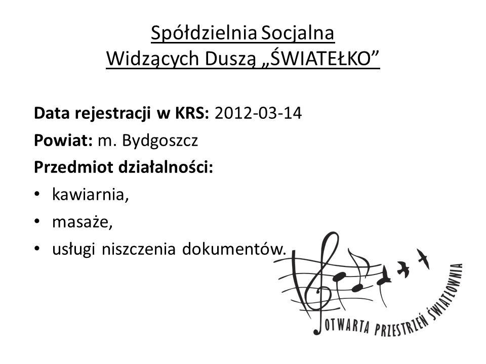 """Spółdzielnia Socjalna Widzących Duszą """"ŚWIATEŁKO Data rejestracji w KRS: 2012-03-14 Powiat: m."""