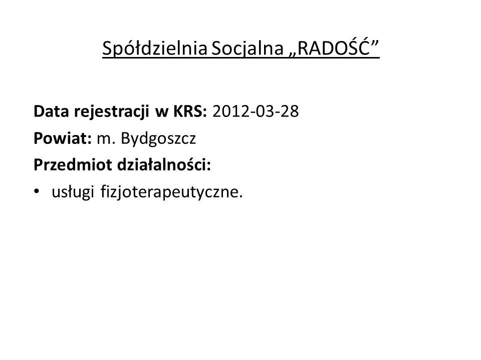 """Spółdzielnia Socjalna """"RADOŚĆ Data rejestracji w KRS: 2012-03-28 Powiat: m."""