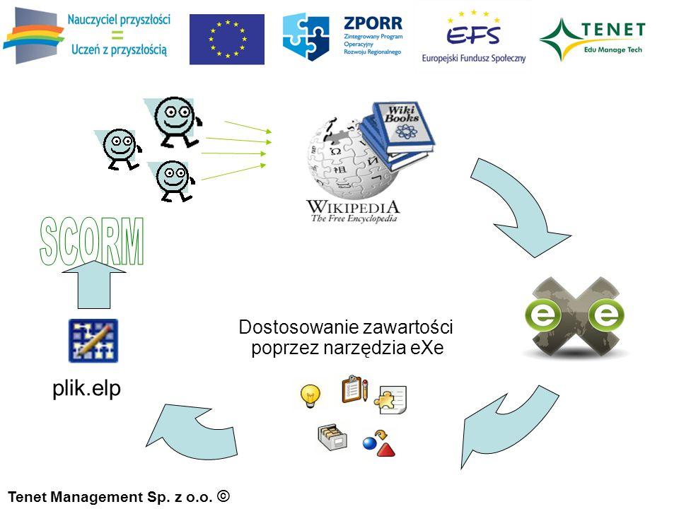 Tenet Management Sp. z o.o. © Dostosowanie zawartości poprzez narzędzia eXe plik.elp