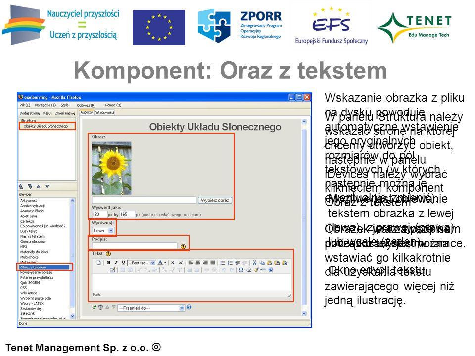 Komponent: Oraz z tekstem Tenet Management Sp. z o.o.