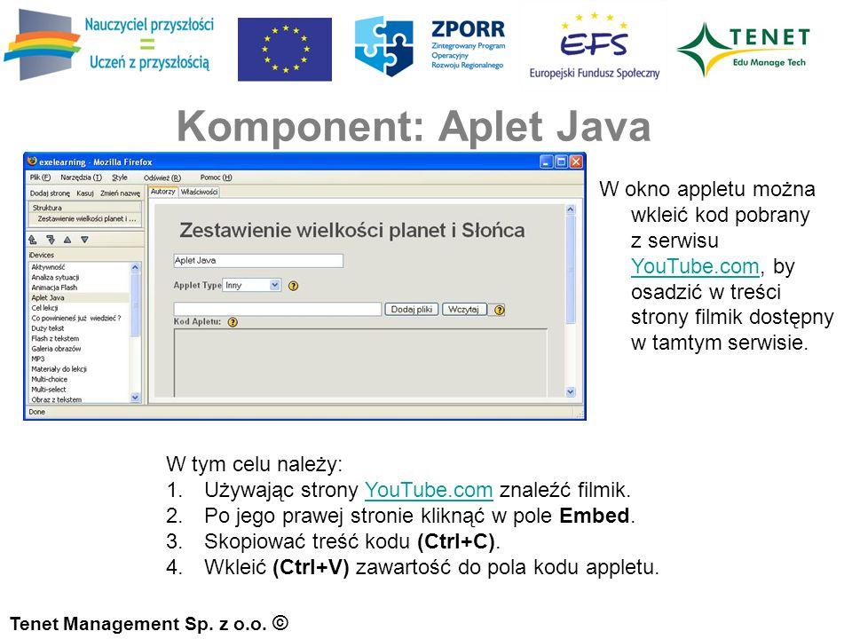 Komponent: Aplet Java Tenet Management Sp. z o.o.