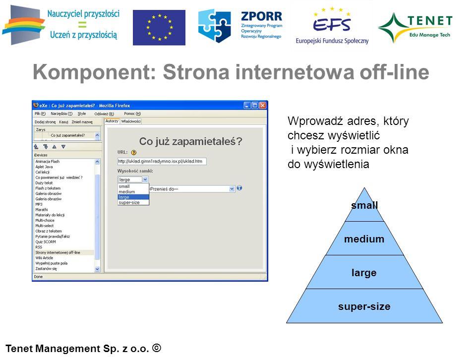 Komponent: Strona internetowa off-line Tenet Management Sp.