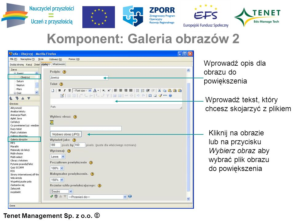 Komponent: Galeria obrazów 2 Tenet Management Sp. z o.o.