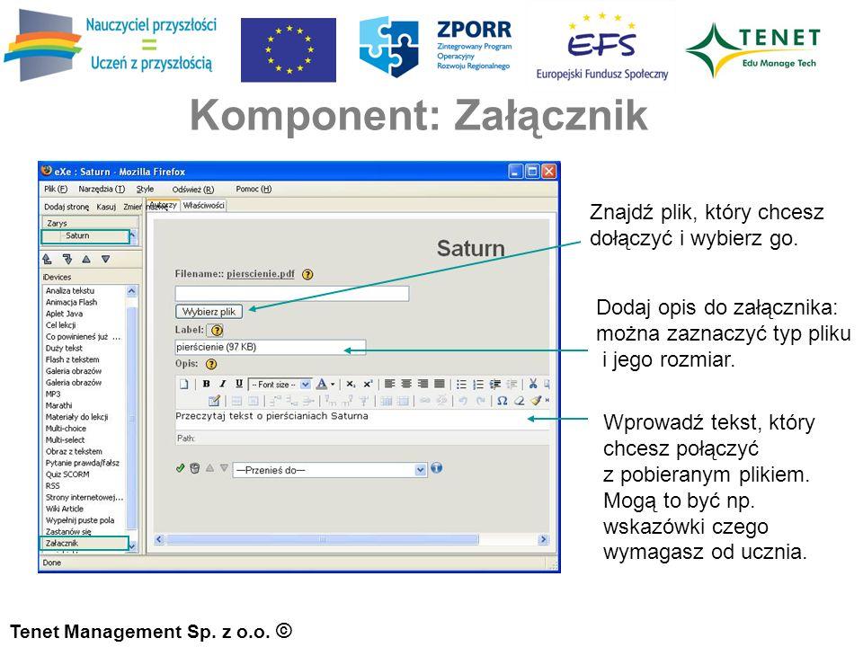 Komponent: Załącznik Tenet Management Sp. z o.o.
