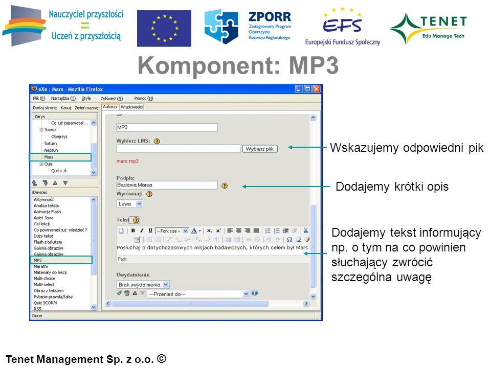 Komponent: MP3 Tenet Management Sp. z o.o.