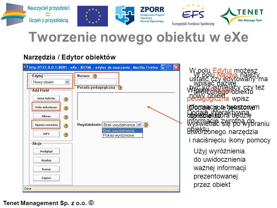 Tworzenie nowego obiektu w eXe Tenet Management Sp.