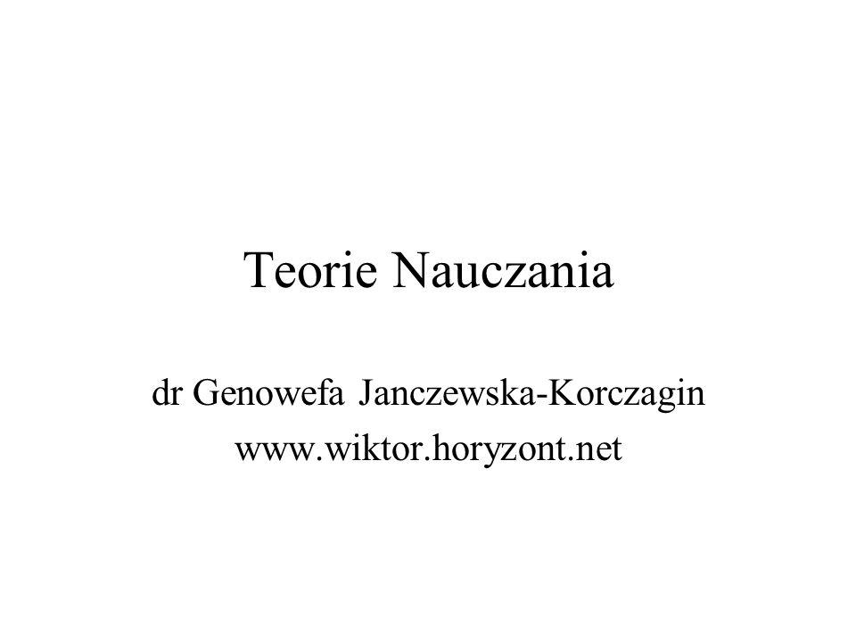 Teorie Nauczania dr Genowefa Janczewska-Korczagin www.wiktor.horyzont.net