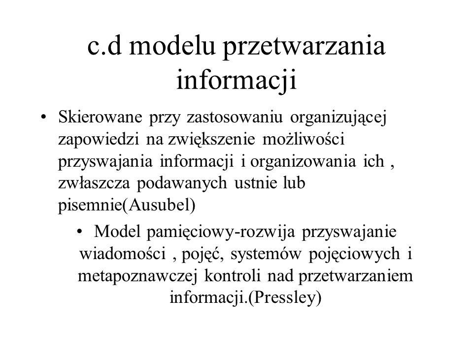 c.d modelu przetwarzania informacji Skierowane przy zastosowaniu organizującej zapowiedzi na zwiększenie możliwości przyswajania informacji i organizowania ich, zwłaszcza podawanych ustnie lub pisemnie(Ausubel) Model pamięciowy-rozwija przyswajanie wiadomości, pojęć, systemów pojęciowych i metapoznawczej kontroli nad przetwarzaniem informacji.(Pressley)