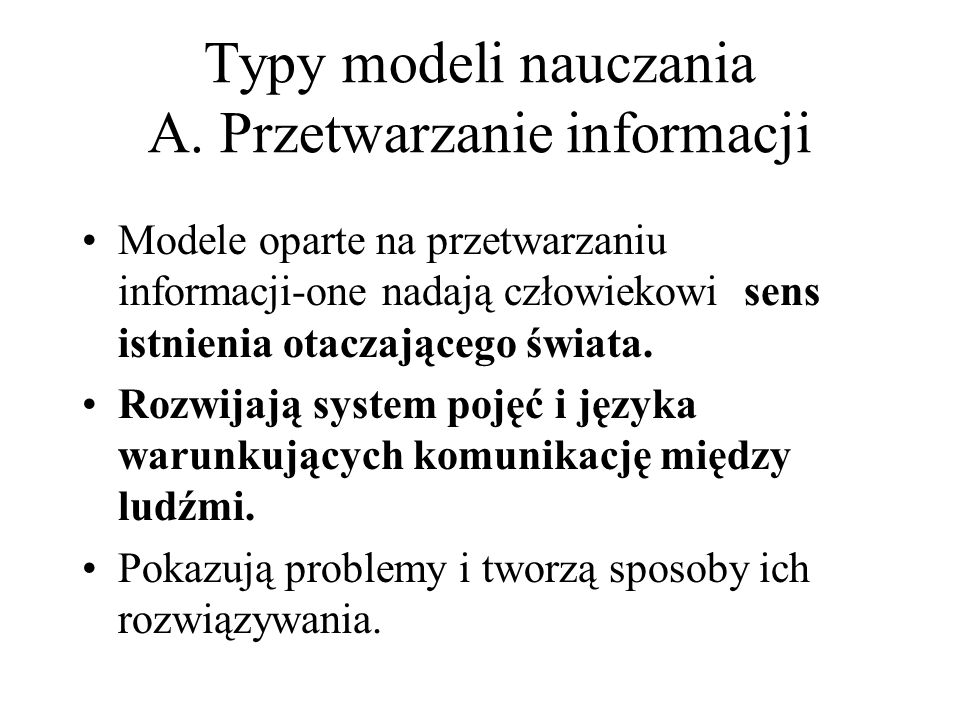 Typy modeli nauczania A.
