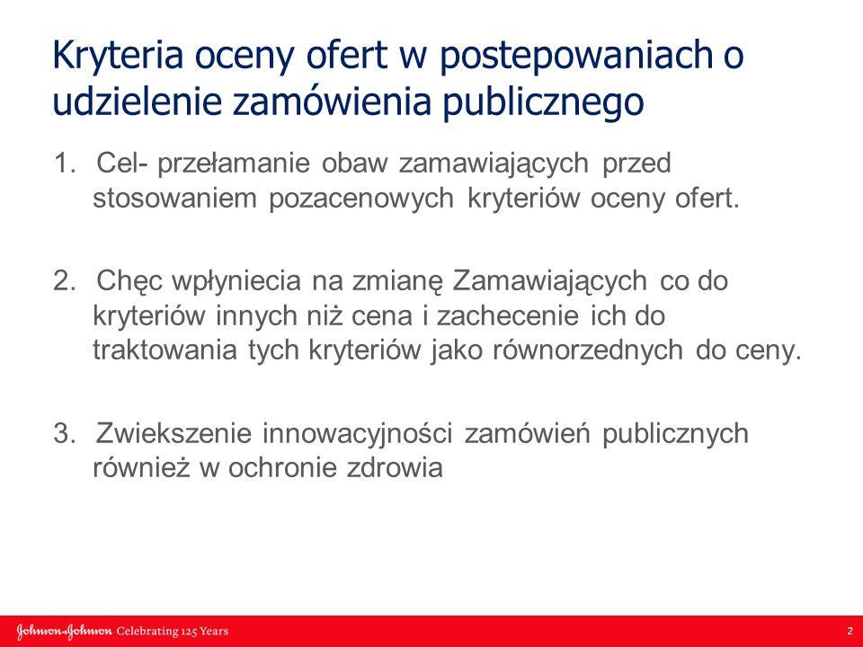 2 Kryteria oceny ofert w postepowaniach o udzielenie zamówienia publicznego 1.Cel- przełamanie obaw zamawiających przed stosowaniem pozacenowych kryteriów oceny ofert.