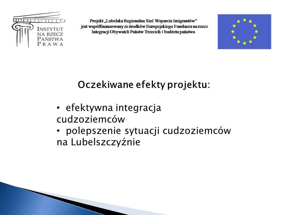 Oczekiwane efekty projektu: efektywna integracja cudzoziemców polepszenie sytuacji cudzoziemców na Lubelszczyźnie