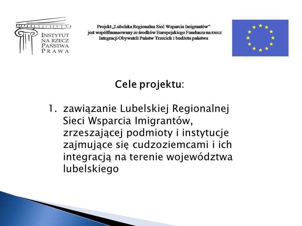 Cele projektu: 1.zawiązanie Lubelskiej Regionalnej Sieci Wsparcia Imigrantów, zrzeszającej podmioty i instytucje zajmujące się cudzoziemcami i ich integracją na terenie województwa lubelskiego