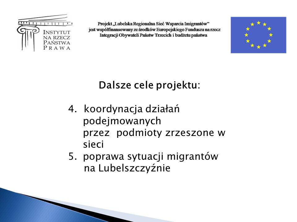 Dalsze cele projektu: 4. koordynacja działań podejmowanych przez podmioty zrzeszone w sieci 5.poprawa sytuacji migrantów na Lubelszczyźnie