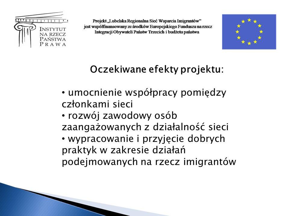 Oczekiwane efekty projektu: umocnienie współpracy pomiędzy członkami sieci rozwój zawodowy osób zaangażowanych z działalność sieci wypracowanie i przyjęcie dobrych praktyk w zakresie działań podejmowanych na rzecz imigrantów