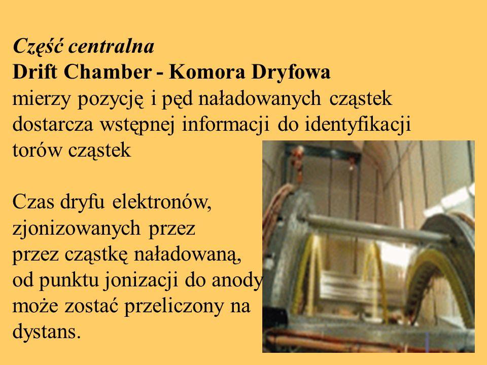 Część centralna Drift Chamber - Komora Dryfowa mierzy pozycję i pęd naładowanych cząstek dostarcza wstępnej informacji do identyfikacji torów cząstek Czas dryfu elektronów, zjonizowanych przez przez cząstkę naładowaną, od punktu jonizacji do anody może zostać przeliczony na dystans.