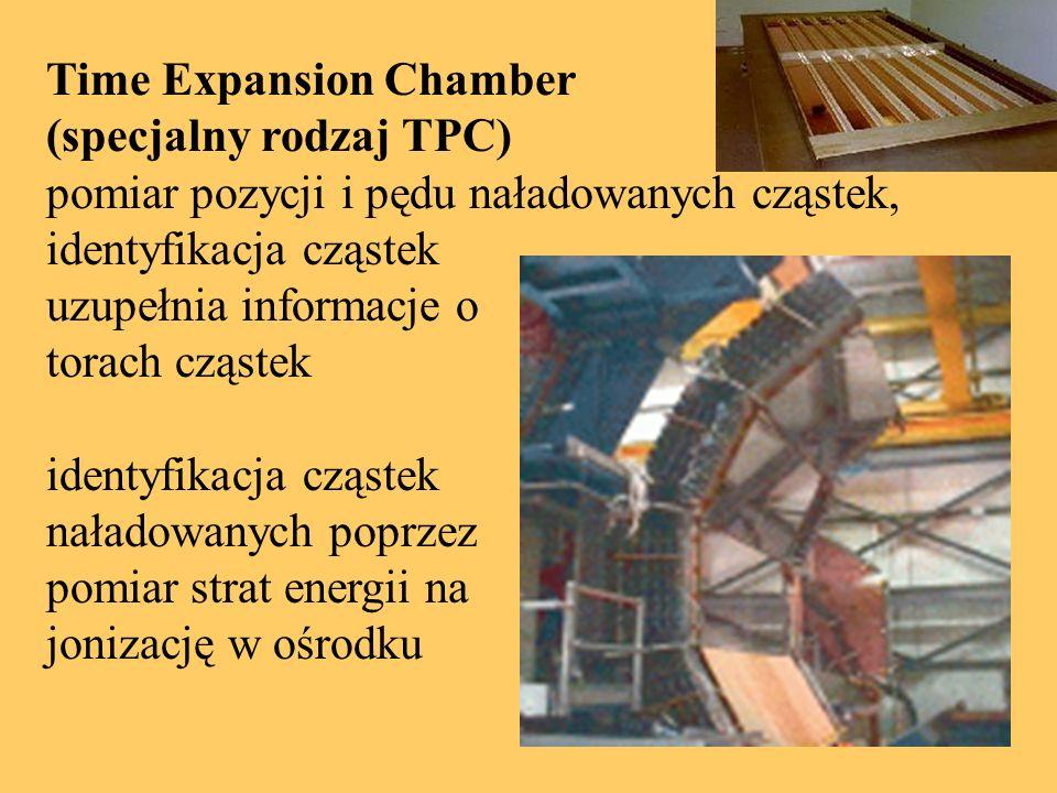 Time Expansion Chamber (specjalny rodzaj TPC) pomiar pozycji i pędu naładowanych cząstek, identyfikacja cząstek uzupełnia informacje o torach cząstek identyfikacja cząstek naładowanych poprzez pomiar strat energii na jonizację w ośrodku