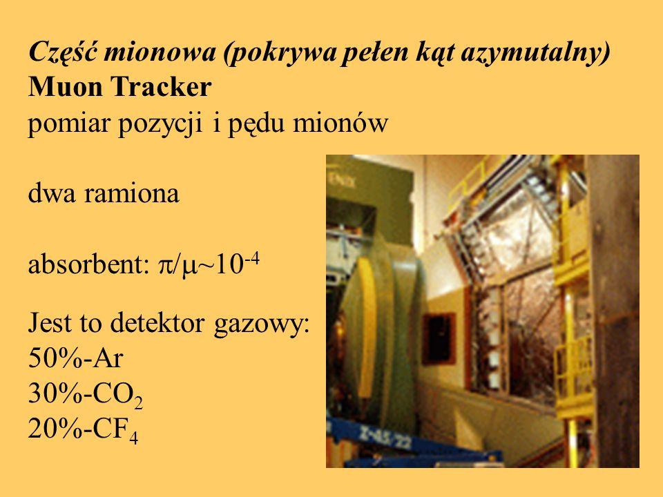 Część mionowa (pokrywa pełen kąt azymutalny) Muon Tracker pomiar pozycji i pędu mionów dwa ramiona absorbent:  ~10 -4 Jest to detektor gazowy: 50%-Ar 30%-CO 2 20%-CF 4