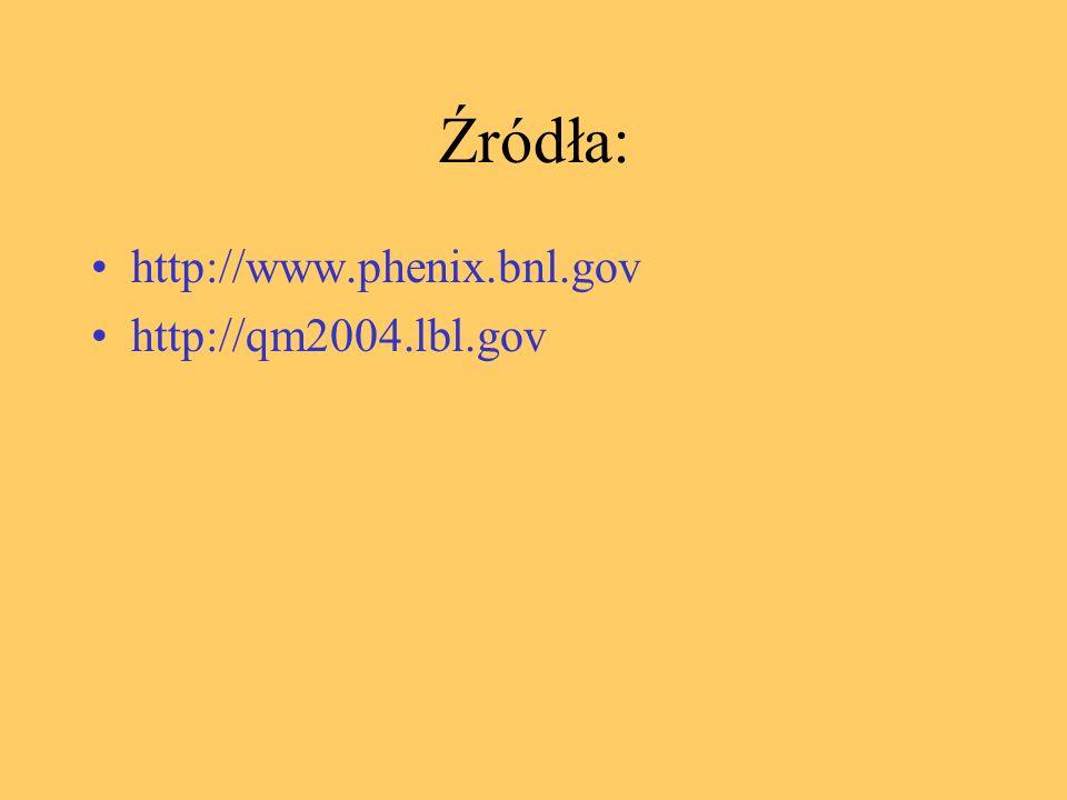 Źródła: http://www.phenix.bnl.gov http://qm2004.lbl.gov