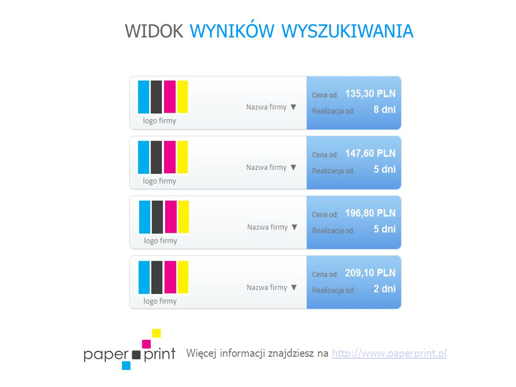 Więcej informacji znajdziesz na http://www.paperprint.plhttp://www.paperprint.pl WIDOK WYNIKÓW WYSZUKIWANIA