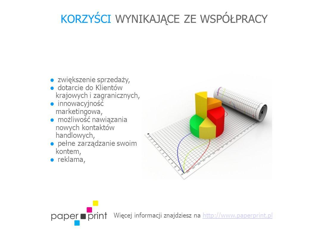Więcej informacji znajdziesz na http://www.paperprint.plhttp://www.paperprint.pl KORZYŚCI WYNIKAJĄCE ZE WSPÓŁPRACY zwiększenie sprzedaży, dotarcie do Klientów krajowych i zagranicznych, innowacyjność marketingowa, możliwość nawiązania nowych kontaktów handlowych, pełne zarządzanie swoim kontem, reklama,