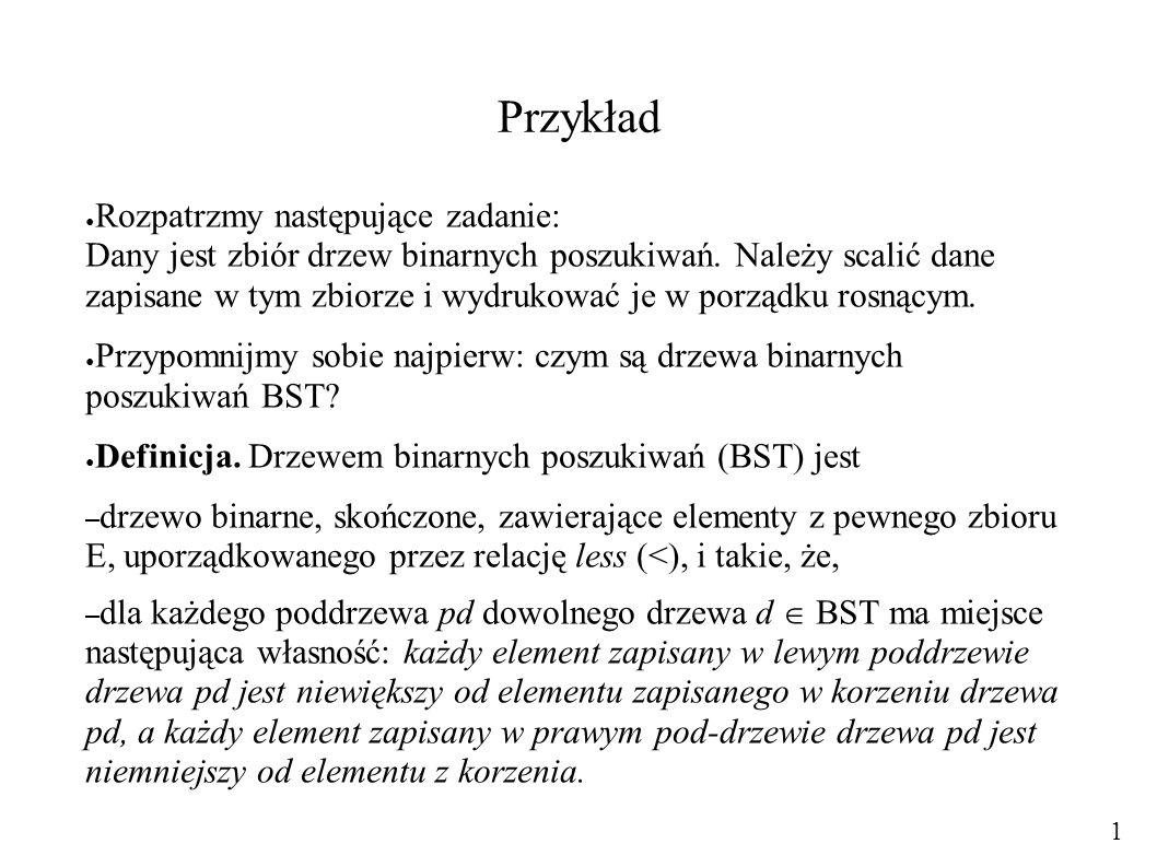 Przykład ● Rozpatrzmy następujące zadanie: Dany jest zbiór drzew binarnych poszukiwań. Należy scalić dane zapisane w tym zbiorze i wydrukować je w por